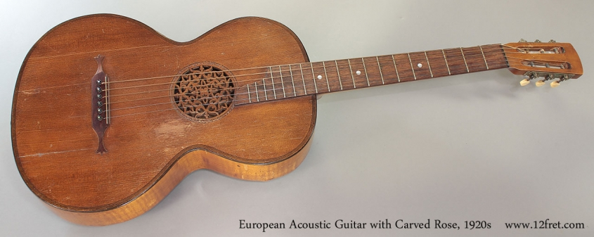 European Acoustic Guitar with Carved Rose, 1920s Full Front View