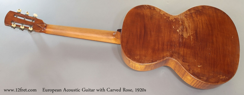 European Acoustic Guitar with Carved Rose, 1920s Full Rear View