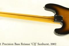 Fender 1951 Precision Bass Reissue 'CIJ' Sunburst, 2002 Full Rear View