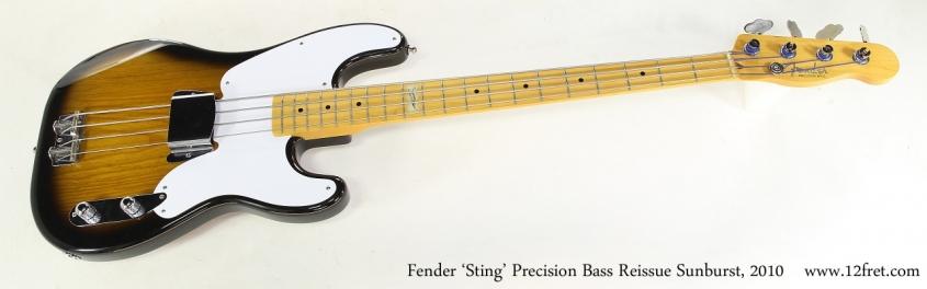 Fender 'Sting' Precision Bass Reissue Sunburst, 2010   Full Front View