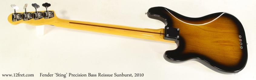 Fender 'Sting' Precision Bass Reissue Sunburst, 2010   Full Rear View