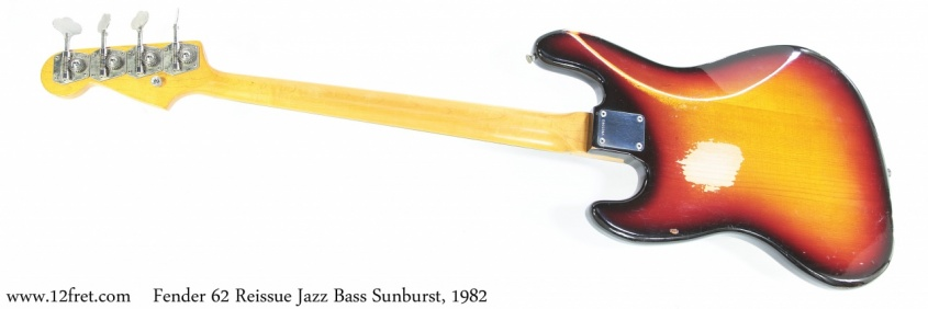 Fender 62 Reissue Jazz Bass Sunburst, 1982 Full Rear View