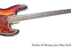 Fender 62 Reissue Jazz Bass Sunburst, 1982 Full Front View