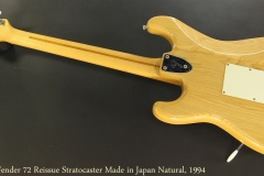 Fender 72 Reissue Stratocaster Made in Japan Natural, 1994 Full Rear View