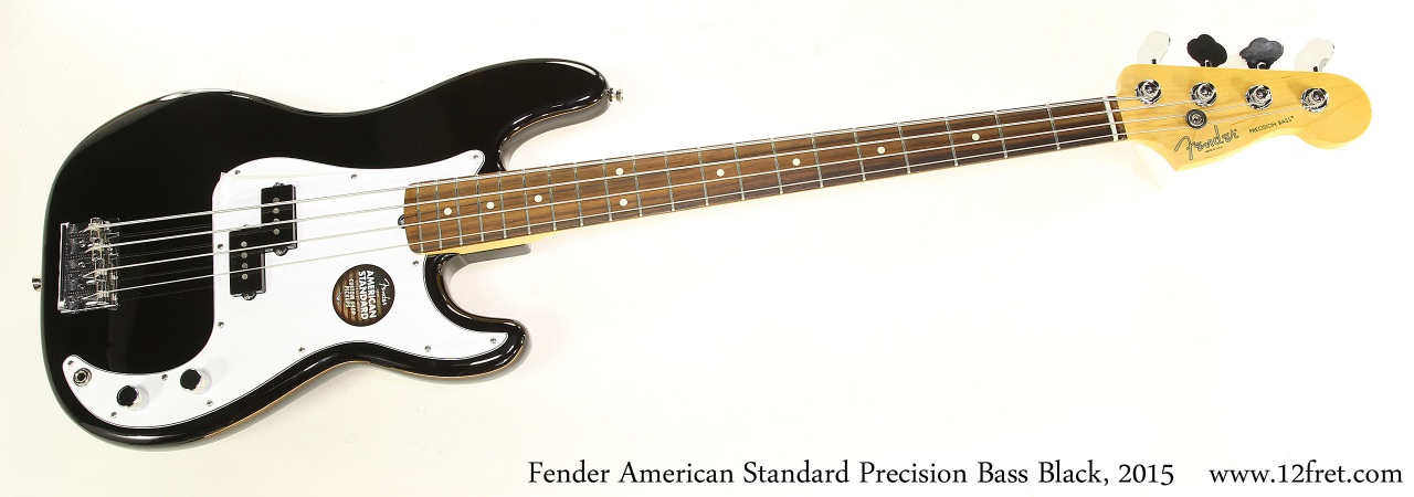 Fender American Standard Precision Bass Black, 2015 Full Front View