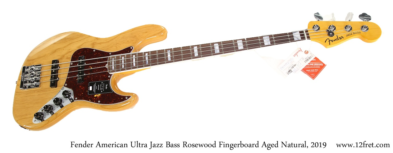 Fender American Ultra Jazz Bass Rosewood Fingerboard Aged Natural, 2019 Full Front View