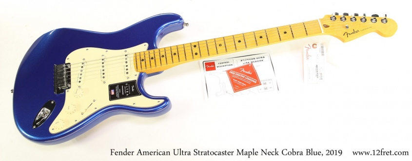 Fender American Ultra Stratocaster Maple Neck Cobra Blue, 2019 Full Front View