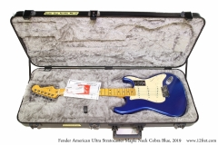 Fender American Ultra Stratocaster Maple Neck Cobra Blue, 2019 Case Open View