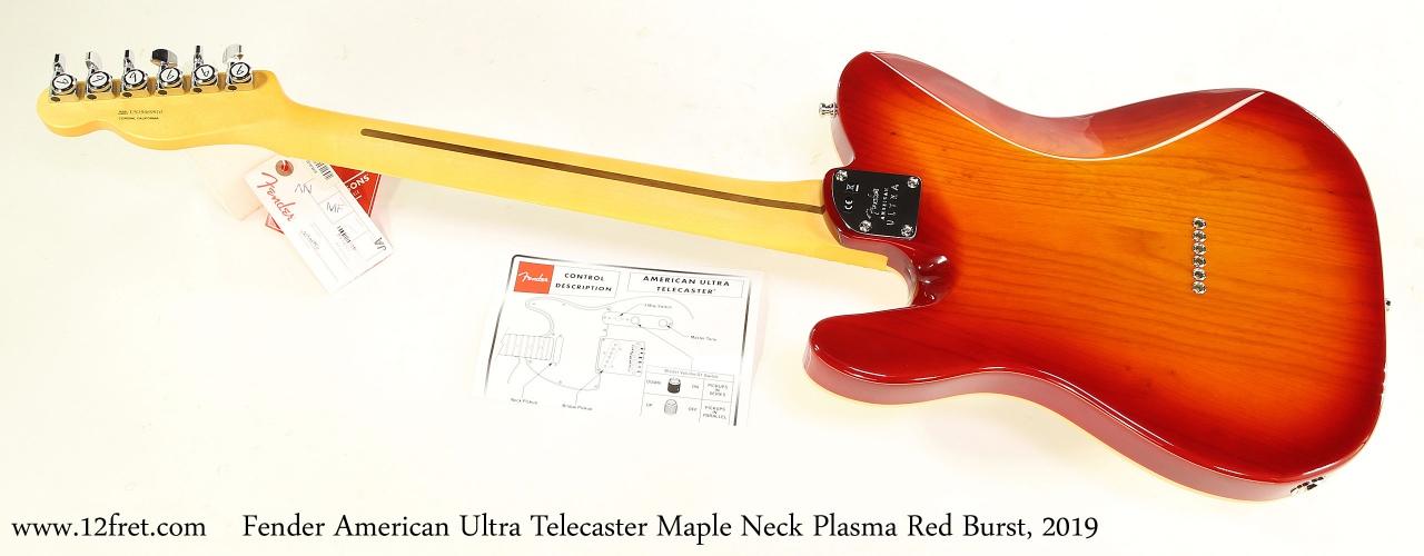 Fender American Ultra Telecaster Maple Neck Plasma Red Burst, 2019 Full Rear View