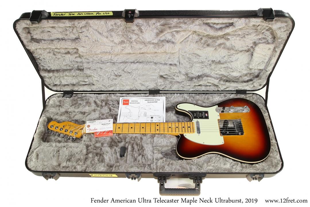 Fender American Ultra Telecaster Maple Neck Ultraburst, 2019 Case Open View