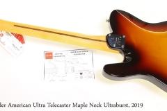Fender American Ultra Telecaster Maple Neck Ultraburst, 2019 Full Rear View