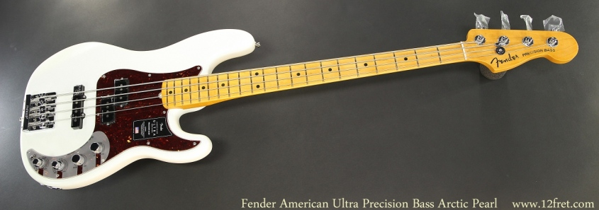 Fender American Ultra Precision Bass Arctic Pearl Full Front View