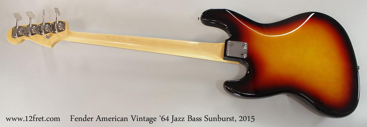 Fender American Vintage '64 Jazz Bass Sunburst, 2015 Full Rear View