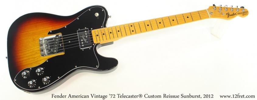 Fender American Vintage '72 Telecaster® Custom Reissue Sunburst, 2012 Full Front View