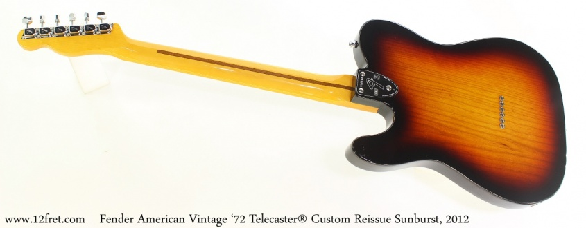 Fender American Vintage '72 Telecaster® Custom Reissue Sunburst, 2012 Full Rear View