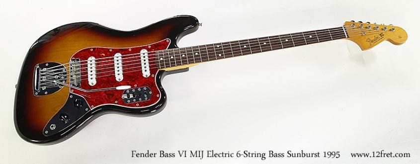 Fender Bass VI MIJ Electric 6-String Bass Sunburst 1995 Full Front View
