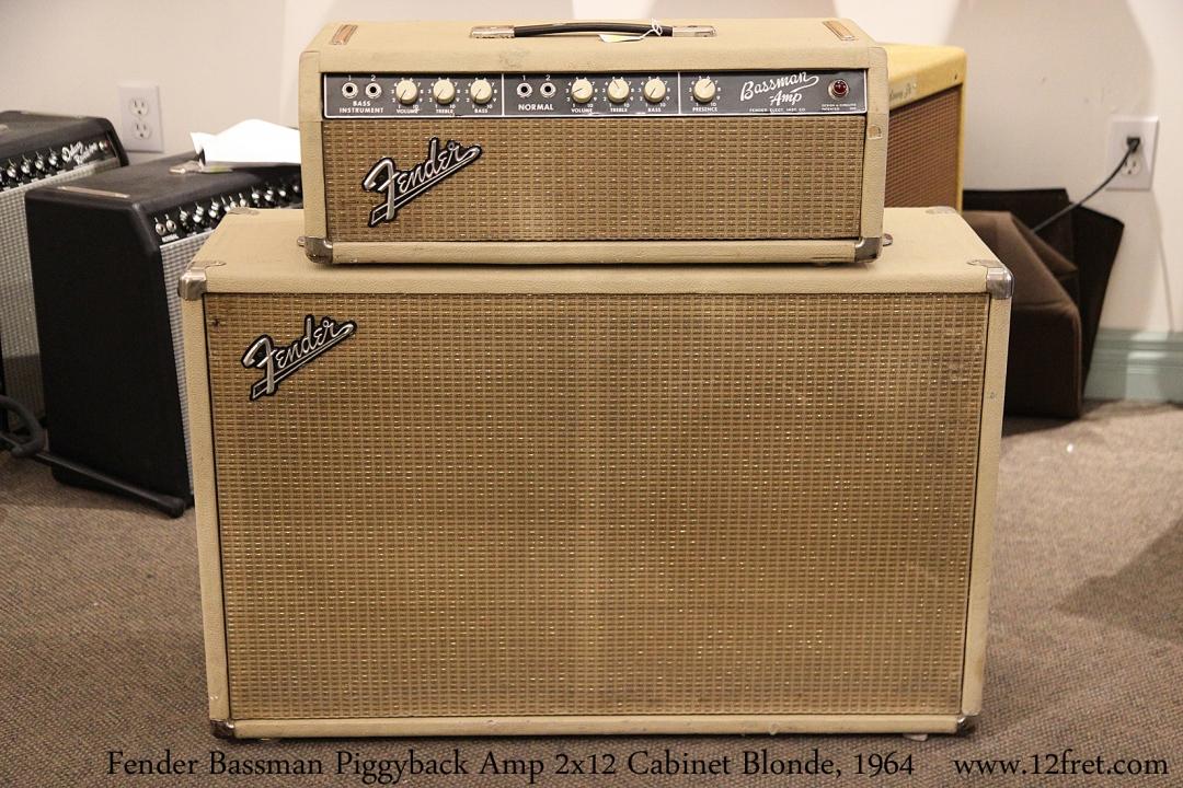 Fender Bassman Piggyback Amp 2x12 Cabinet Blonde, 1964 Full Front View