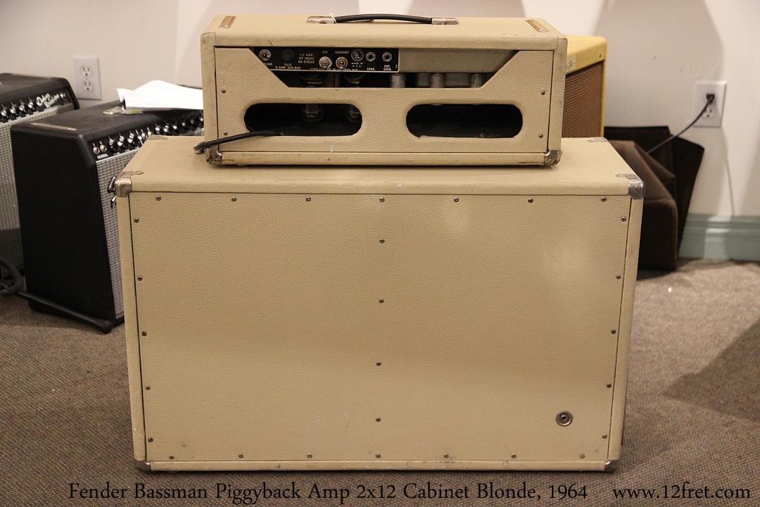 Fender Bassman Piggyback Amp 2x12 Cabinet Blonde, 1964 Full Rear View