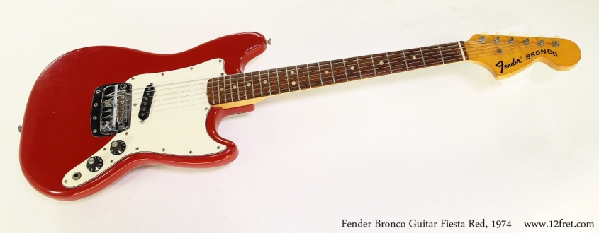 Fender Bronco Guitar Fiesta Red, 1974 Full Front View