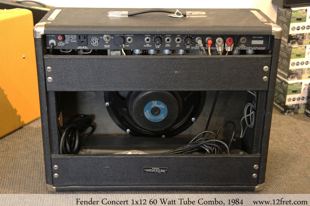 Fender Concert 1x12 60 Watt Tube Combo, 1984 Full Rear View