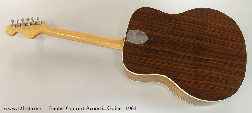 Fender Concert Acoustic Guitar, 1964 Full Rear View