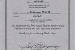 Fender Custom Shop 1951 Telecaster Relic Blonde, 2016