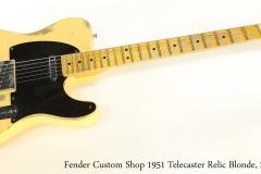 Fender Custom Shop 1951 Telecaster Relic Blonde, 2016 Full Fronmt View