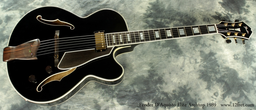 Fender D'Aquisto Elite Archtop Black 1989 full front view