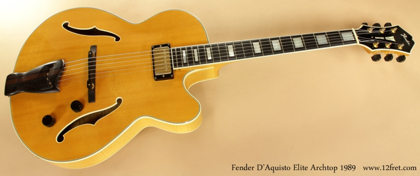 Fender D'Aquisto Elite Archtop Natural 1989 full front view