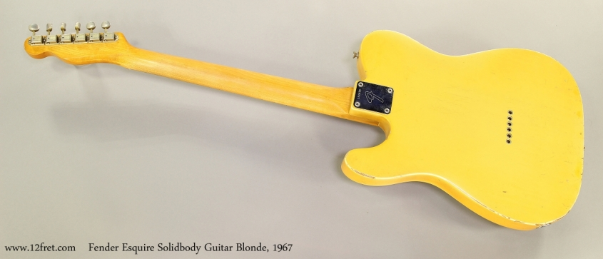 Fender Esquire Solidbody Guitar Blonde, 1967  Full Rear View