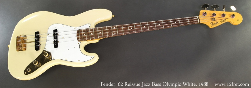 Fender '62 Reissue Jazz Bass Olympic White, 1988 Full Front View