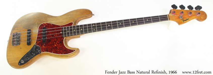 Fender Jazz Bass Natural Refinish, 1966 Full Front View