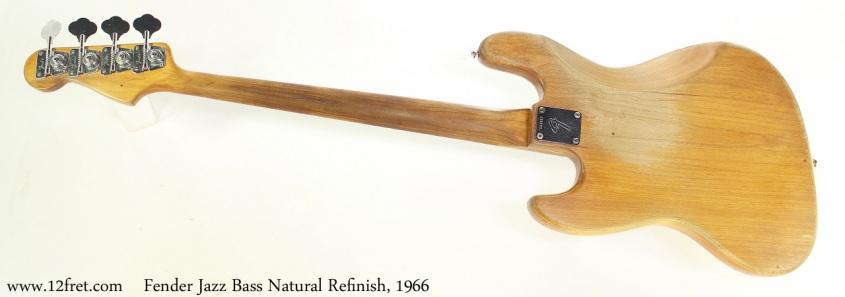 Fender Jazz Bass Natural Refinish, 1966 Full Rear View