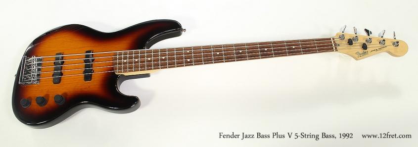Fender Jazz Bass Plus V 5-String Bass, 1992 Full Front View