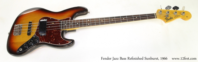 Fender Jazz Bass Refinished Sunburst, 1966   Full Front View