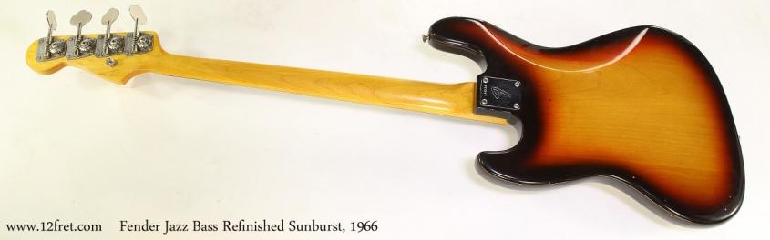 Fender Jazz Bass Refinished Sunburst, 1966   Full Rear View