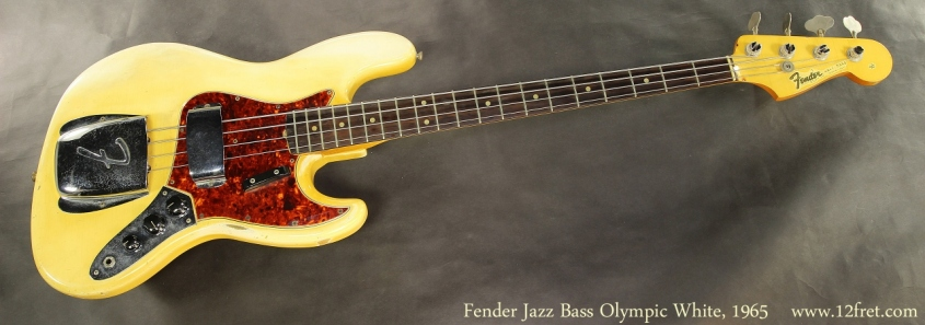 Fender Jazz Bass Olympic White, 1965 Full Front View