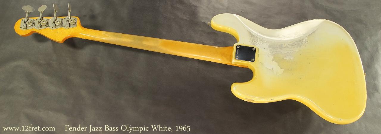 Fender Jazz Bass Olympic White, 1965 Full Rear View