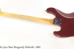 Fender Jazz Bass Burgundy Refinish, 1962 Full Rear View