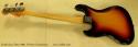 Fender Jazz Bass 1966 Fretless Conversion full rear