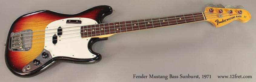 Fender Mustang Bass Sunburst, 1971 Full Front View