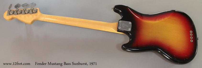 Fender Mustang Bass Sunburst, 1971 Full Rear View