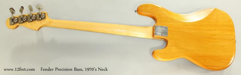 Fender Precision Bass, 1970's Neck Full Rear View