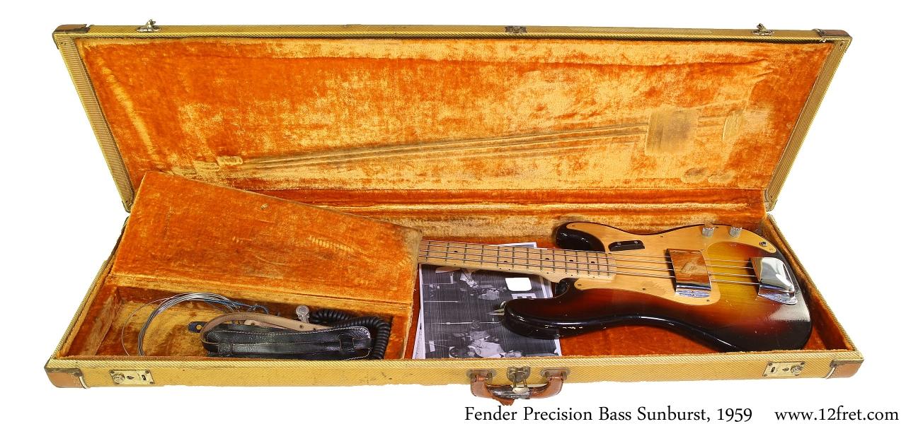 Fender Precision Bass Sunburst, 1959 Case Open View