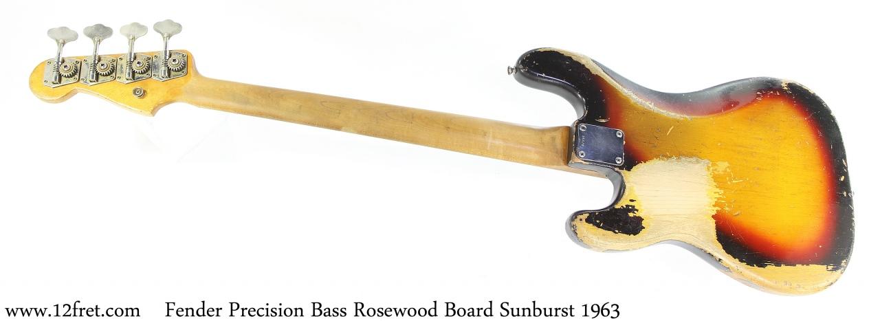 Fender Precision Bass Rosewood Board Sunburst 1963 Full Rear View