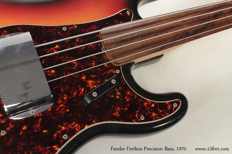 1970 Fender Fretless Precision Bass fingerboard detail
