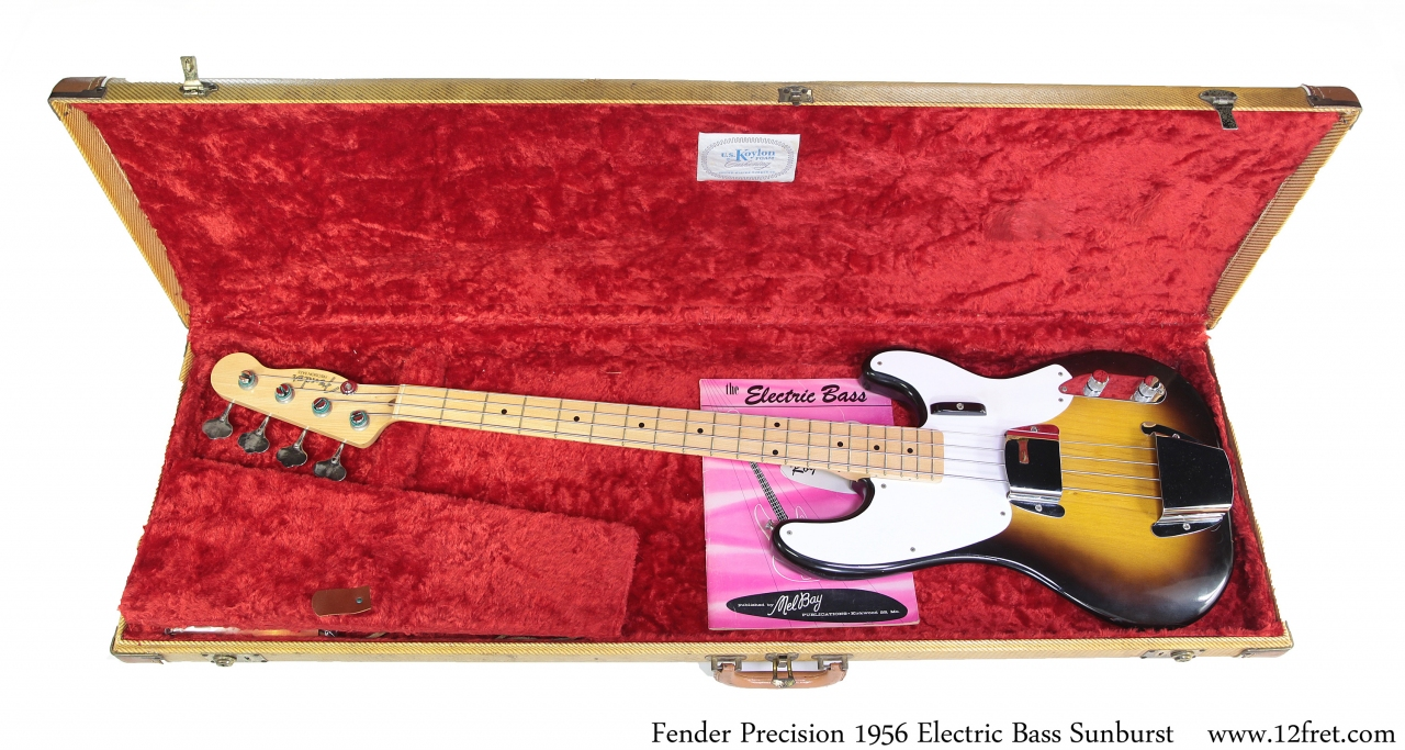 Fender Precision 1956 Solidbody Electric Bass Sunburst Case with Bass View