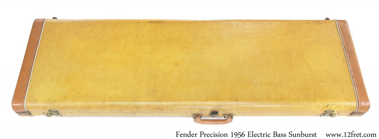 Fender Precision 1956 Solidbody Electric Bass Sunburst Case Top View