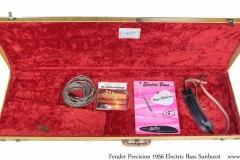 Fender Precision 1956 Solidbody Electric Bass Sunburst Case Open View