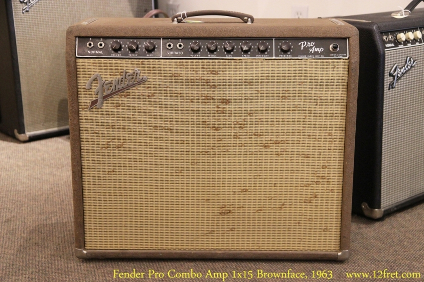 Fender Pro Combo Amp 1x15 Brownface, 1963 Full Front View